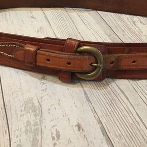 TRIPLE K Tooled Leather Basket Weave Belt